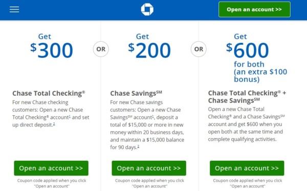 チェース銀行で600ドル